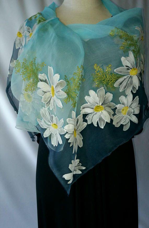 Hand painted silk shawl pleasantly refreshes monochrome clothes, keeps the body warm in cold weather. Silk is nice gentle to your skin, creates a sense of lightness and freedom. Each scarf is a work of art that is impossible to replicate. Length 1.53 m[60,2in], width 0.50 m[19,7in]. You