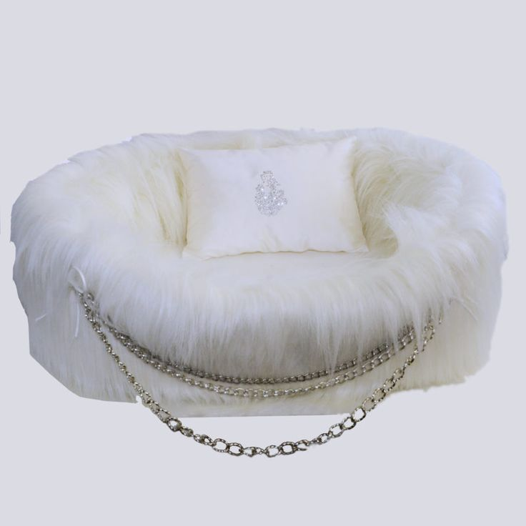 White Glam Gothic Faux Fur Dog Bed and Silk Pillow with Swarovski Crystals By Lola Santoro