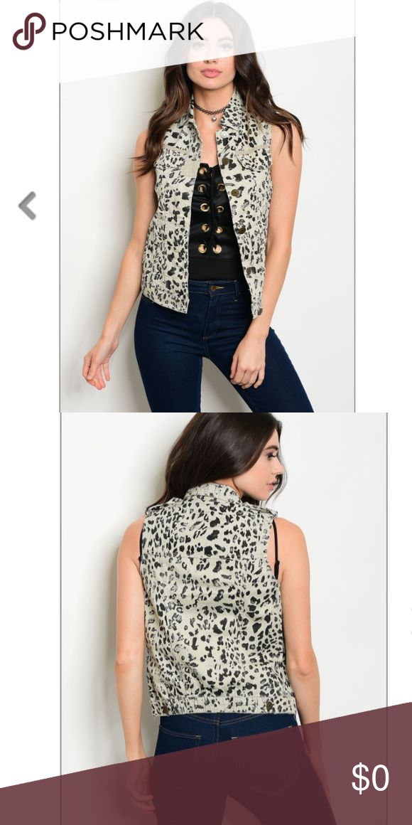 ⭐️COMING SOON!⭐️ Animal print vest Animal print vest in taupe with button closure. 100% Cotton. 🔸Bundle to save. Jackets & Coats Vests
