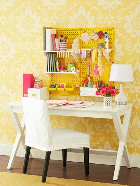 Storage Solutions for Small Spaces Get a handle on your craft/office supplies by using a pegboard above a desk. You don't need a separate room for your office or crafts. This desk would look lovely tucked in the corner of your living room or bedroom.