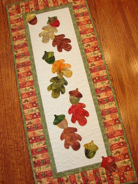 Autumn Fall Quilted Wall Hanging Or Table Runner With Oak
