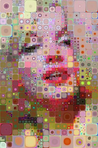 Is this a Chuck Close painting or a multi-layered circle into square cane slices of Polymer clay Marilyn Monroe portrait?  If not PC it could be ..