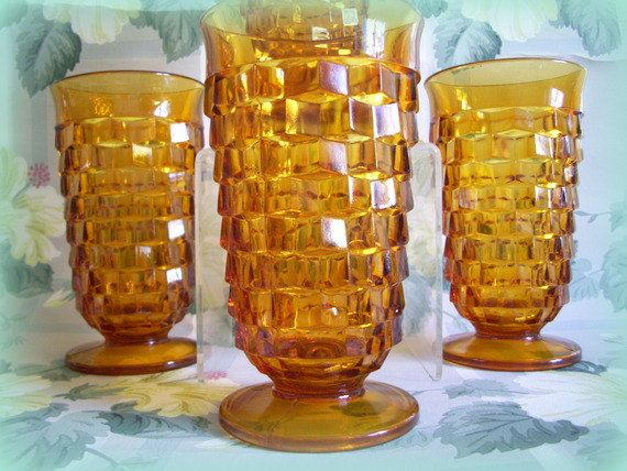 Vintage Footed Tumblers Jeanette Glass Cube Pattern