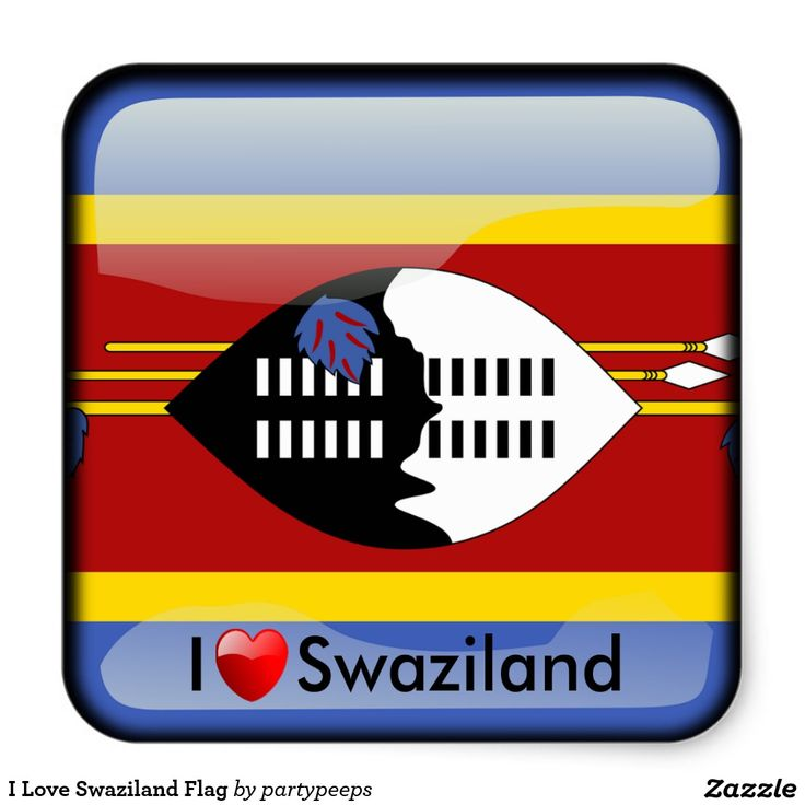 I Love Swaziland Flag Square Sticker