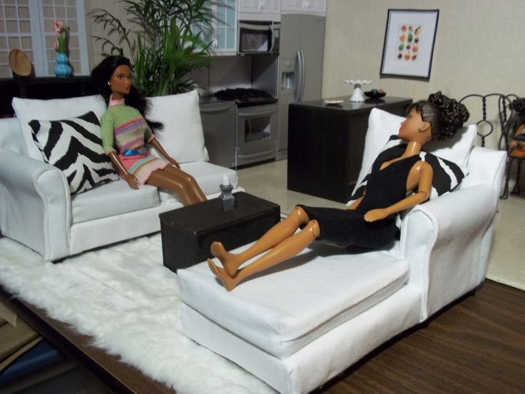 Homemade Barbie Furniture | ... : The White Sectional - Furniture for Barbie and other Fashion Dolls