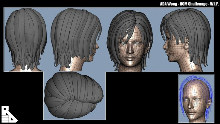 MAYA game character hair - Google Search