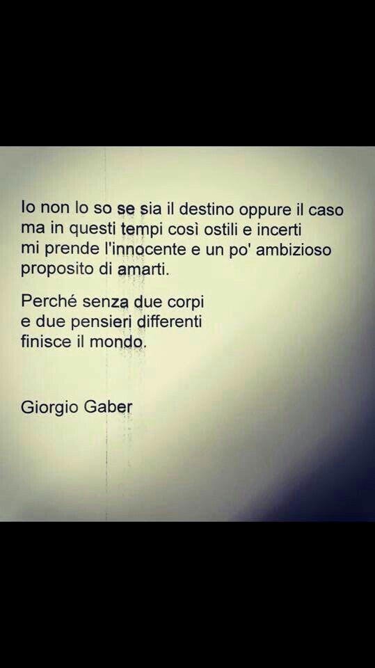 Il proposito di amarti... (Giorgio Gaber)