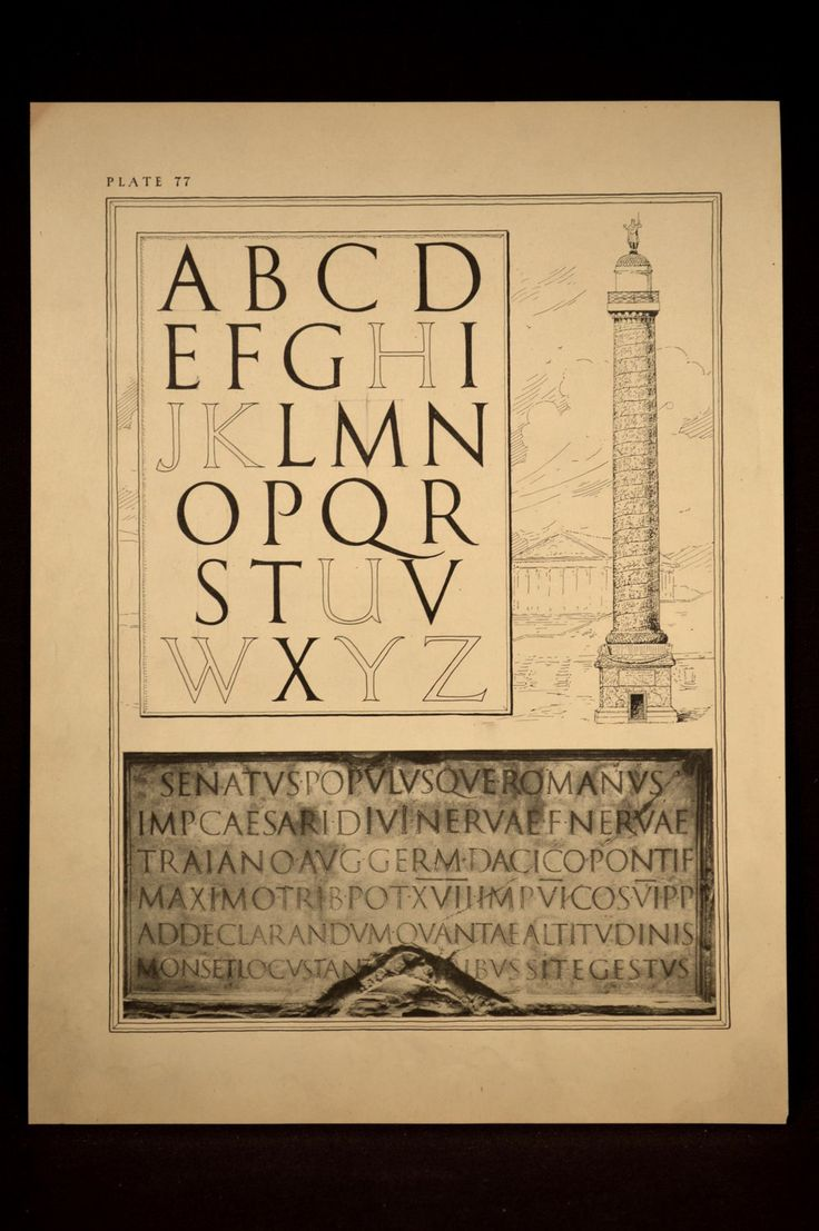 Lettering Print Roman Letters Drafting Calligraphy Antique