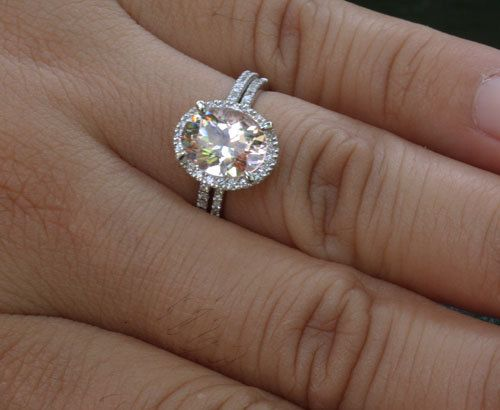 14k White Gold 9x7mm Morganite Oval Engagement Ring And Diamond Wedding Band Set Choose Color
