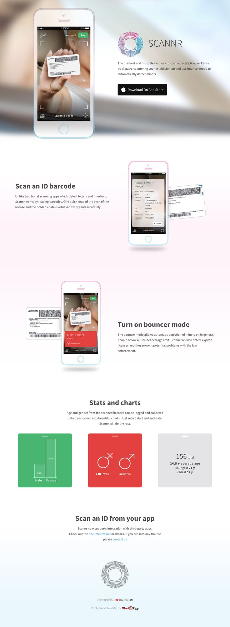 Clean responsive one pager for 'Scannr' - a new iPhone app that provides a quick way to scan a drivers license and automatically detect minors.