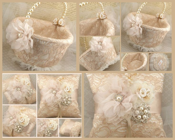 Bridal Ring Bearer Pillow and Flower Girl Basket Set in Champagne, Nude and Ivory