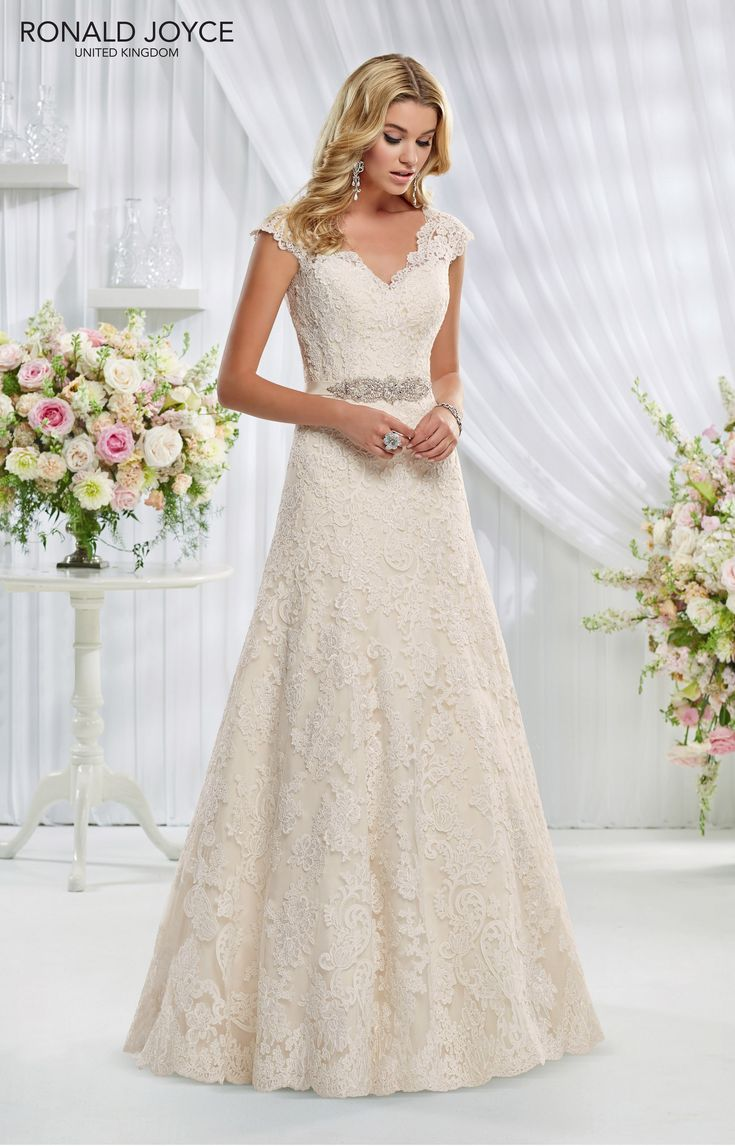 69011 'ERICA' Ronald Joyce #weddingdress #lace #cappedsleeves #openback #satin