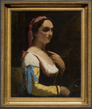 Jean-Baptiste-Camille Corot, Italian Woman, or Woman with Yellow Sleeve (L'Italienne), c. 1870