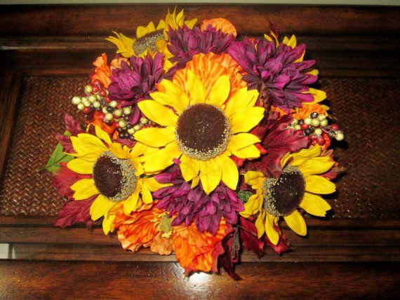Fall Centerpieces, Wedding Reception Centerpiece, Sunflower Centerpiece, Rustic Wedding Decoration, Silk Keepsake Centerpieces on Etsy, $39.00