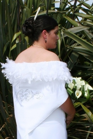 wedding dress with contemporary Māori korowai (cloak) ~ #LovePlainYetDetailed!
