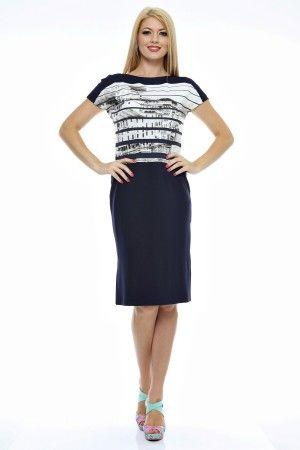 Rochie tricot imprimat cu decolteu arcuit si linie dreapta.
