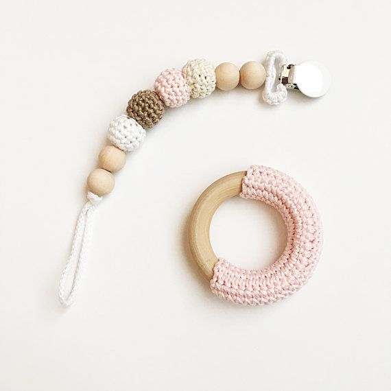 NomiLu Neapolitan -- Crocheted Beads Pacifier Clip -- Eco-friendly pacifier clip -- crocheted wooden beads -- Baby Teether