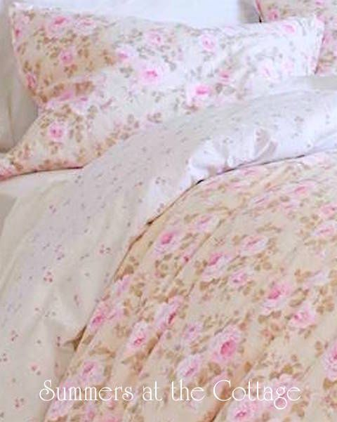 PINK PARFAIT PEONY ROSES & CREAM DUVET COMFORTER COVER SET - KING or QUEEN