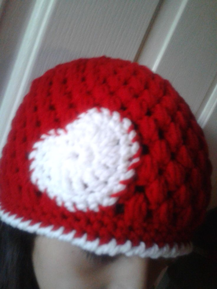 Crochet Valentine Hat : Crochet Valentine Hat/Crochet Baenie with Heart Made-to-Order