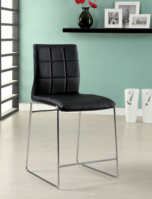 furniture of america idf8320bkpc counter height chair in black leatherette set