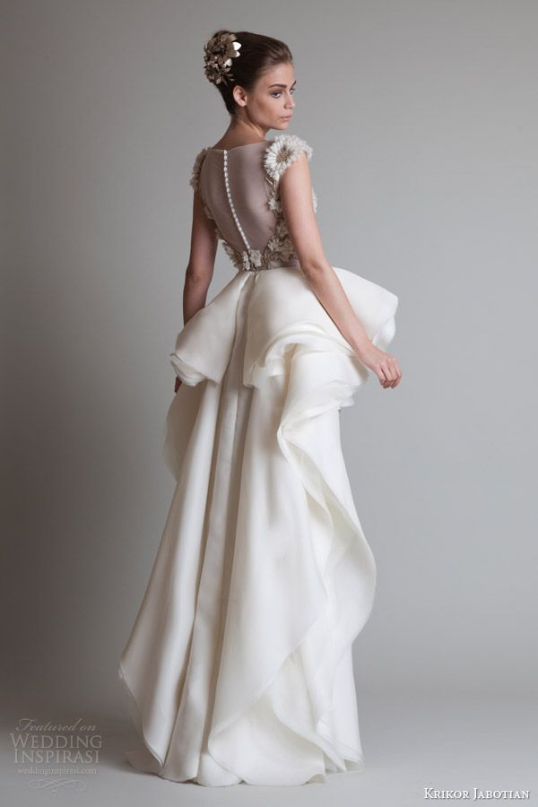 krikor jabotian fall 2013 couture cap sleeve dress overskirt back view