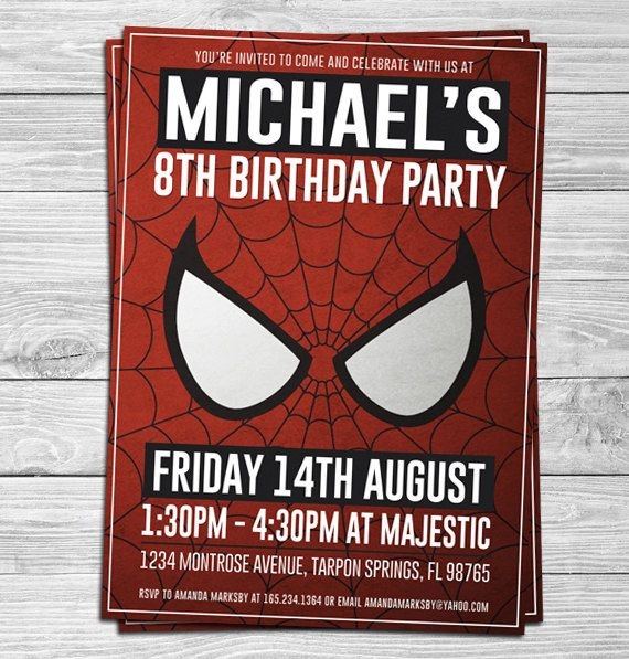 Spider-Man Birthday Party Invitations for Kids (Spiderman, Party Supplies, Party Decorations, Printable, Customizable, Superhero)