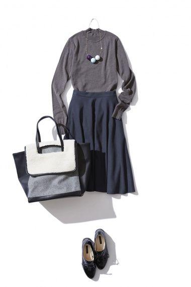 モスグリーンのサーキュラースカートで大人の着こなし ― A-ファッションコーディネート通販|ビストロ フラワーズ トウキョウ
