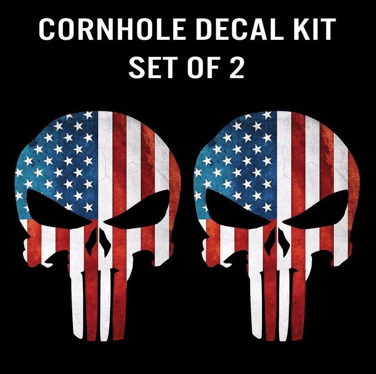 Punisher Skull American Flag Cornhole Decal Sticker Graphic - Set of 2 | Sporting Goods, Outdoor Sports, Backyard Games | eBay!