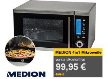 Allyouneed: Mikrowelle Medion MD 15501 mit Heißluft und Doppelgrill für 92 Euro http://www.discountfan.de/artikel/technik_und_haushalt/allyouneed-mikrowelle-medion-md-15501-mit-heissluft-und-doppelgrill-fuer-92-euro.php Zum Schnäppchenpreis von 91,95 Euro mit Versand ist bei Allyouneed noch bis Freitag eine 4-in-1-Mikrowelle von Aldi-Lieferant Medion zu haben: Das Modell MD 15501 verfügt über eine Grill- und Heißluftfunktion. Mikrowelle Medion MD 15501 mit Heißluft u