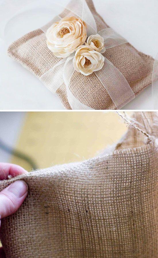 Burlap Ring Pillow for Less Than $10  | 25 DIY Winter Wedding Ideas on a Budget | DIY Winter Wedding Decorations