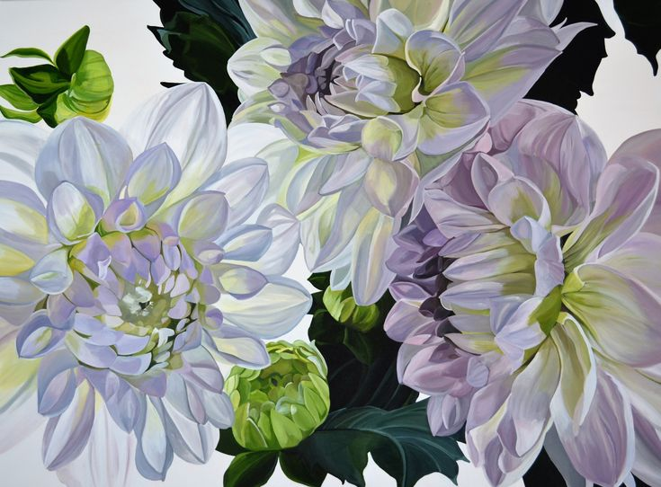 'Sunlit dahlias' 120 x 90 cm