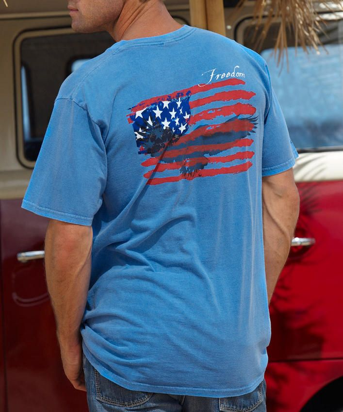 Freedom Flyer - Blue Hawaii-Dyed Crew Neck T-Shirt
