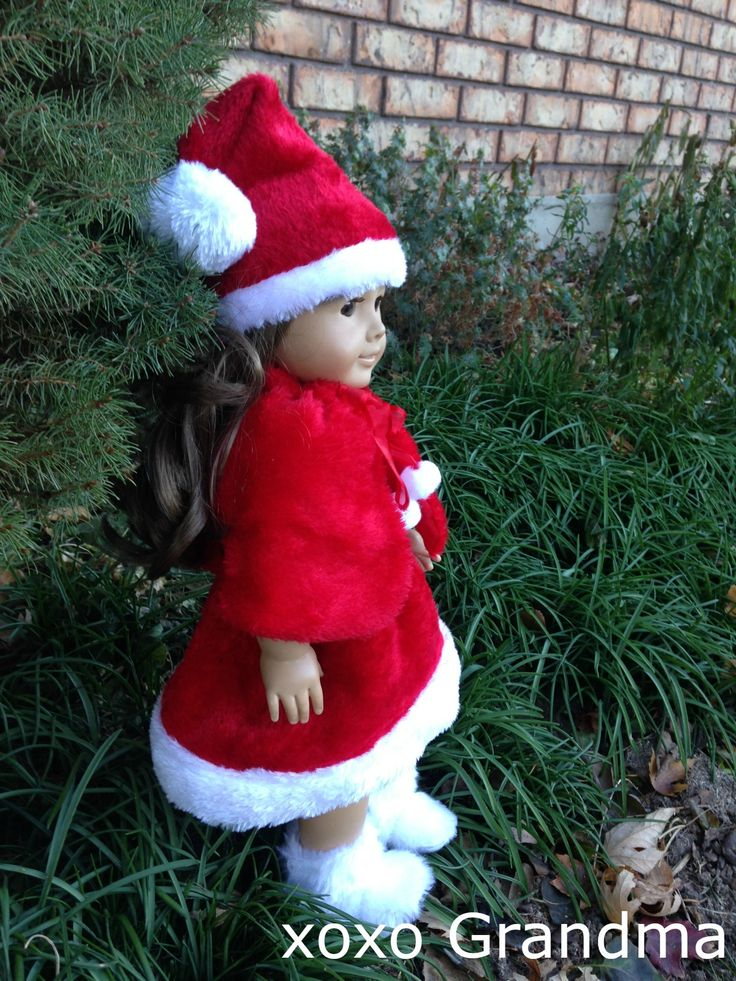 Turning Dollar Store Purchases Into Doll Clothes - Little Miss Santa Outfit using 2 Santa hats, making the total cost of this outfit only $2.