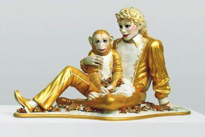 Jeff Koons, Michael Jackson ve Kabarcıklar, 1988, Porselen, 106 x 179 x 82.6 cm - Sanata Yüzeysel Bir Tepki: Kitsch  Kitsch Modernizm ile üstü örtülen ama Post-Modernizm ile yeniden canlanan Modernizme yönelik bir eleştiri. Pop Sanat ironik biçimde popüler kültür ile kitsch görüntüleri kullanır. Post-Modernizm de eski ile yeniyi birleştirdiği için ironiktir ve kitsch ile benzerliklere sahiptir.