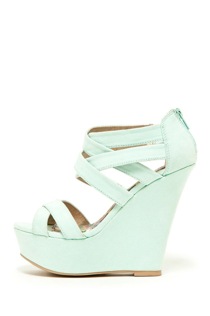 strappy Mint wedges