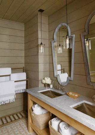 Gorgeous Mirrors...Loving the tongue and groove planks on the walls...