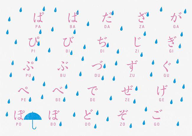 hiragana + raindrops / akaoni design.