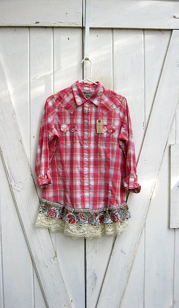 Large upcycled pink plaid shirt funky boho tunic by LilyWhitepad