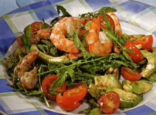 Салат из авокадо с креветками (рецепт)