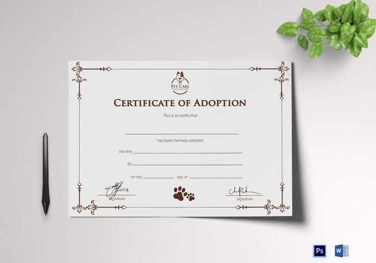 Sample Adoption Certificate Template  $9.99  Formats Included : MS Word, Photoshop   File Size : 11.69x8.26 Inchs  #Certificates #Certificatedesigns #AdoptionCertificates