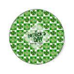 St Patricks Day PARTYWARE Shamrock - EDIT TEXT Classic Round Sticker #stpatty #stpatricksday