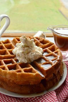 Apple Butter Waffles with Cinnamon Syrup - Sugar Dish Me