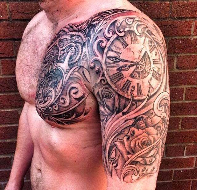 Realistic analog watch tattoo on arms and chest