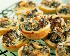 spinach and pinenut mini quiche