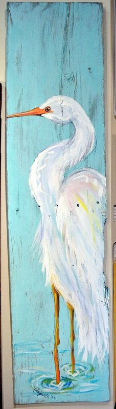 Salvaged Wood Painting Egret by elizabethandcoart on Etsy, $78.00