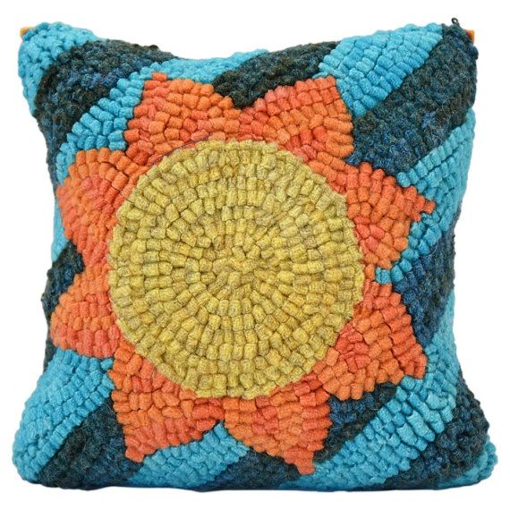 Hooked Rug Buckwheat Pillow Here Comes by ParrisHouseWoolWorks