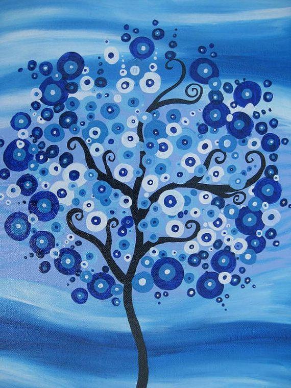 tree painting on canvas light blue colourful colorful fantasy wall decor decoration painting original tree of life art beach sea on Etsy, $56.59
