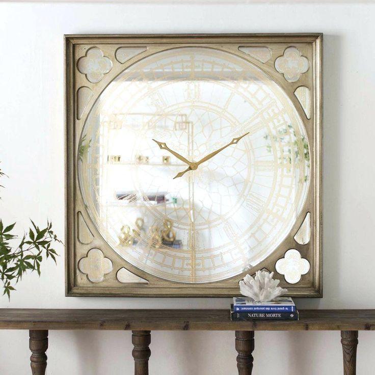 Square Mirrored Wall Clock
