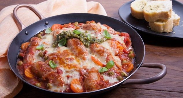 Whip up Better Homes and Gardens' scrumptious Chipolata & Tomato Braise smothered in melted cheese using just one pan from start to finish!  #winter #dinner #recipe