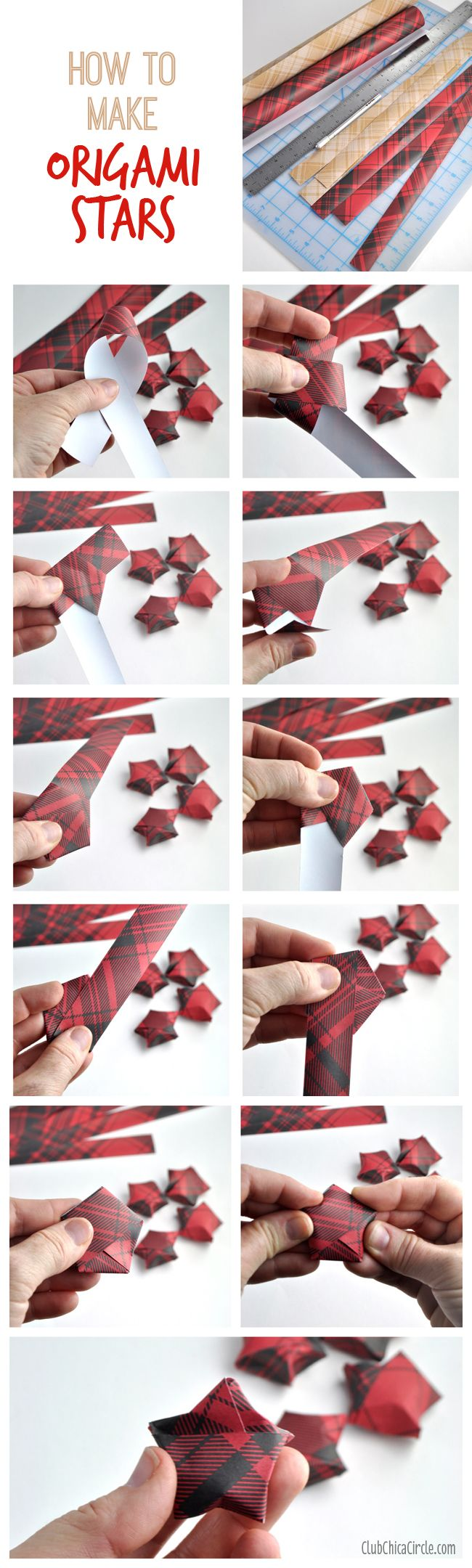 Origami Stars Holiday Garland DIY | Club Chica Circle - where crafty is contagious